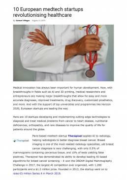 10 European medtech startups revolutionising healthcare