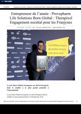 2019-09-31-Entrepreneur de l'année _ Provepharm Life Solutions Born Global _ Therapixel Engagement sociétal pour les Franjynes - Nice-Matin