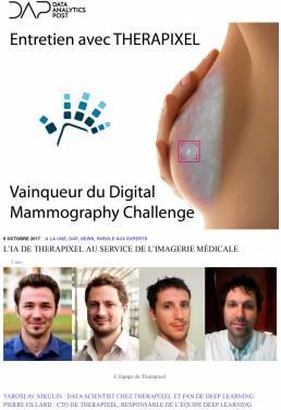 Vainqueyr du Digital Mammography Challenge Therapixel