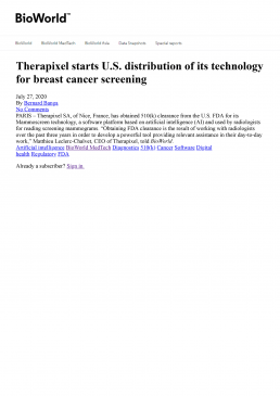 Therapixel-starts-US-distribution-of-its-technology-for-breast-cancer-screening-Bioworld